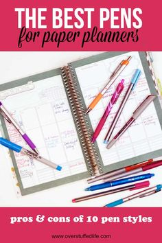 best pen to use with a paper planner | pros and cons of 10 types of pen | color coding for planners | how to color code your planner | Pilot Frixion | PaperMate Flair | PaperMate Ink Joy | Foray | Uniball vision needle | Pilot G2 | Staedtler Fineliner | Sharpie Ultra Fine | paper planning | office supplies | tips for paper planners