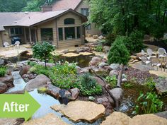 An expansive, wooded suburban lot was turned into a watery wonderland by a couple who spent years touring ponds and planning their backyard oasis. Description from aquascapeinc.blogspot.com. I searched for this on bing.com/images