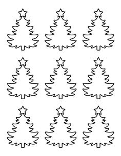 Printable small Christmas tree pattern. Use the pattern for crafts, creating stencils, scrapbooking, and more. Free PDF template to download and print at http://patternuniverse.com/download/small-christmas-tree-pattern/.