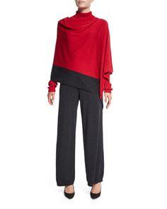 Silk-Cashmere Contrast-Trim Poncho, Silk-Cashmere Long-Sleeve Turtleneck & Silk-Cashmere Wide-Leg Pants, Women\'s  by Joan Vass at Neiman Marcus.
