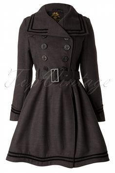 Bunny - 50s Millie Swing Winter Coat in Grey