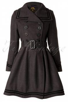 Bunny - 50s Millie Swing Winter Coat in Grey