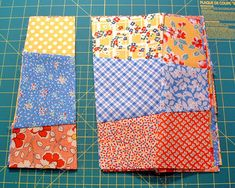 Love this easy stack and slash crazy nine patch quilt!
