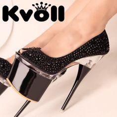 D83201 Kvoll Fashion Rhinestone Peep-toe High-heeled Pump Black
