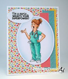 Art Impressions Rubber Stamps: Ai Work and Play: 4899 Proud Nurse Set. Handmade nursing card.