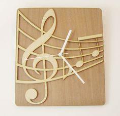 Reloj de pared de madera Notas musicales por LaserCust en Etsy