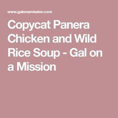 Copycat Panera Chicken and Wild Rice Soup - Gal on a Mission