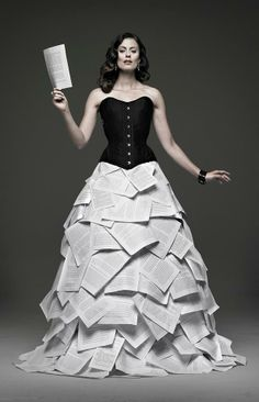 Literature couture. An excellent design for Lindsey to wear to a reading but shorter