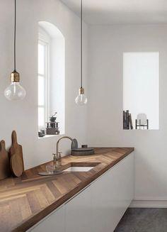 cuisine plan de travail bois chevron suspension Home Design, Küchen Design, Design Ideas, Design Inspiration, Interior Inspiration, Diy Kitchen Decor, Kitchen Interior, Kitchen Wood, Kitchen Ideas