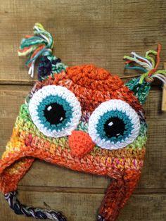 Owl Crochet Hat Owl Beanie Crochet Hat Ear by thebluemagnolia, $20.00