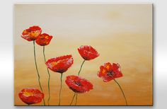Floral painting Original painting on canvas Red by AstaArtwork, $73.00