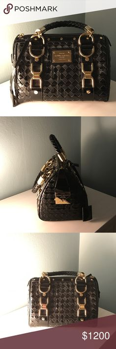 """Gianni Versace Couture 💯Authentic Gianni Versace Couture black patent leather small  """"Snap Out Of It"""" bag.  Very light wear outside, inside is in excellent condition.  Dimensions Length 9 1/2 width 6 1/2 depth 6 1/2. Bags Mini Bags"""