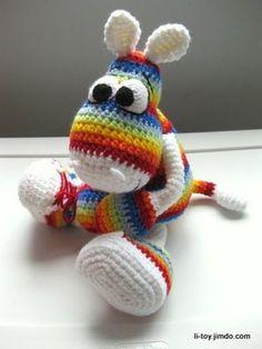 Amigurumi Rainbow Donkey    PATTERN FREE CALSS IT A HIPPO, BUT. ITS TRANSLATED, SO HORSE=HIPPO