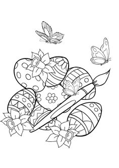 Easter Adult Coloring Page New Coloring for Adults Kleuren Voor Volwassenen Easter Coloring Pictures, Easter Egg Coloring Pages, Spring Coloring Pages, Easter Pictures, Flower Coloring Pages, Animal Coloring Pages, Coloring Book Pages, Coloring Pages For Kids, Easter Colors