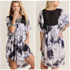 Tye Dye Tunic with pockets Fabulous Tye dye tunic dress with side pockets . Lace inset detail . Loose style nwot Vivacouture Dresses