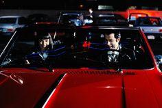 Uma Thurman and John Travolta during the filming of Pulp Fiction