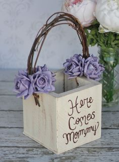 Rustic Chic Flower Girl Basket with purple flowers, I LOVE How It Says Here Comes Mommy! #purple #wedding