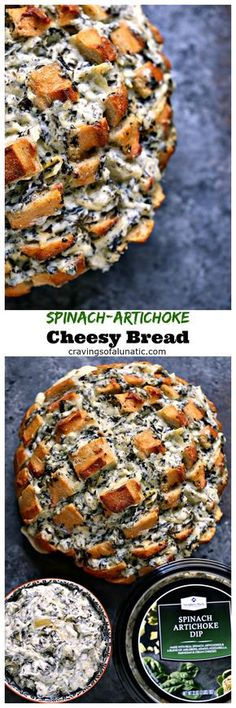 Spinach-Artichoke Cheesy Bread from cravingsofalunatic.com- This recipe is chock full of flavor yet remarkably easy to make. The bread is stuffed with spinach artichoke dip and cheese. You need to make this bread immediately. #sponsored