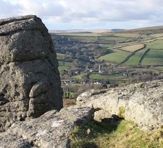 View of Widecombe in the English Moors - picture taken from Tunhill Rocks