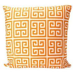 Elisabeth Michael Greek Key Sherbet Orange Throw Pillow