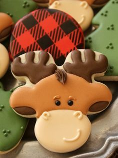Moose Cookies ~ add a red nose and make smaller ears for a reindeer