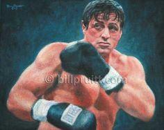 "ORIGINAL Sylvester Sly Stallone Rocky Balboa oil painting 8""x10"" Bill Pruitt #RockyBalboaArt #RockyBoxingArt"