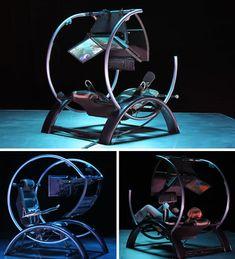 Ergonomics Futuristic Ultramodern Workstation Computer Station, Computer Workstation, Computer Setup, Office Desk Set, Home Office, Gaming Room Setup, Gaming Chair, Iron Furniture, Furniture Design