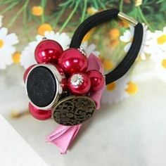 Bright Ball Hair Tie Red - One Size Ball Hairstyles, Hair Ties, Druzy Ring, Elephant, Bright, Pendant Necklace, Red, Ribbon Hair Ties, Elephants