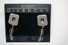 "Givenchy pewter tone Swarovski crystal 1.5"" drop clip earrings MINT signed! Fancy That! www,bonanza.com"