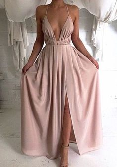 Pink Plain Condole Belt Plunging Neckline Casual Polyester Maxi Dress - Maxi Dresses - Dresses