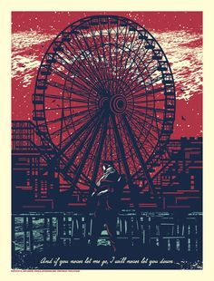 The Gaslight Anthem - El Jefe Design - Boardwalk Ferris Wheel Shore Relief Poster... all proceeds will be donated to Hurricane Sandy Relief!