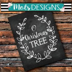 INSTANT DOWNLOAD O Christmas TREE Holiday Tree Farm Photo Prop Print 8x10 Sign Dirty Chalkboard Wedding Baby Scroll Vine Party Shower