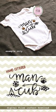 Man cub, new born baby boy boys cute fun hand lettered digital cut files, SVG, DXF, studio3 for cricut, silhouette cameo, diy vinyl decals by LoveRiaCharlotte on Etsy