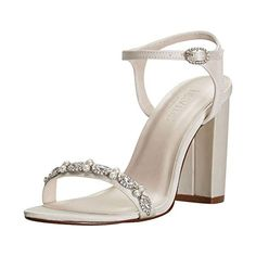 David's Bridal Embellished Satin Block Heel Sandals Style Elsa -- Check this awesome product by going to the link at the image. (This is an affiliate link) Block Sandals, Block Heel Shoes, Women's Shoes Sandals, Heeled Sandals, Davids Bridal Shoes, Bridal Heels, Wedding Flats, Shoe Collection, Elsa