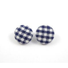 Gingham Earring Studs Navy Blue and White Free Shipping Etsy ❤ liked on Polyvore