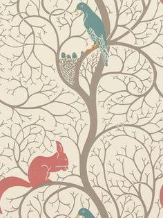 Buy Sanderson Squirrel & Dove Wallpaper, DVIWSQ102, Teal / Red | John Lewis