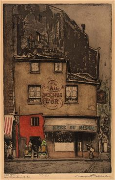 Old Paris: Au Bacchus d'Orca, 1935-1940 Max Pollak Large image: HERE   Born: Prague, Czechoslovakia 1886 Died: Sausalito, California 1970 softground etching and color aquatint on paper plate: 12 x 7...