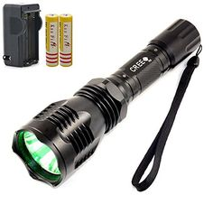 Onedayshop High Quality HS802 CREE XRE Q5 LED Green Light 1 Mode LED Flashlight Torch for Hunting Camping Seeking Survival Walking Diving Fishing As Well As Hunting Etcwith 2x18650 5000mah Rechargeable Battery and 1pcs Charger -- You can find out more details at the link of the image.