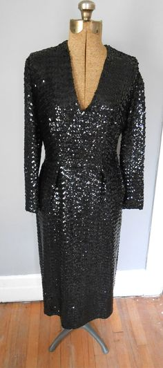 1940s Black Sequined Cocktail Dress Vintage Women's 1950s Clothing Marilyn Hollywood Glam (172.00 USD) by MDMvintage