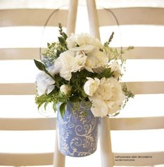 6 Wedding Aisle Flower Vases Church Pew Decorations by cathyswraps, $18.00