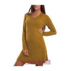 Vestito donna miniabito pull scollo V maglione maniche lunghe sexy nuovo R3037