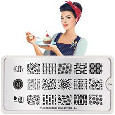 Meet Cherry! She's cooked you something special and you won't be disappointed!    ●MoYou-London Cook Book06 includes 18 different designs, each measuring 1.2 x 1.5cm.      ●The stainless steel plate measures 6.5 x 12.5cm and have a vinyl backing for increased ease of use.   ● Each plate comes in its own branded protective sleeve.    ● The designs are engraved on to the image plate and covered with a protective film which needs to be removed before use.   This item is the image ...