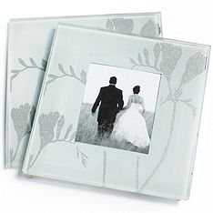 Freesia Photo Glass Coaster Favor Set- $1 per set on sale or .50 if I split them up- same as the other- mandatory place card holder if I have he plated dinner- so these are understated !