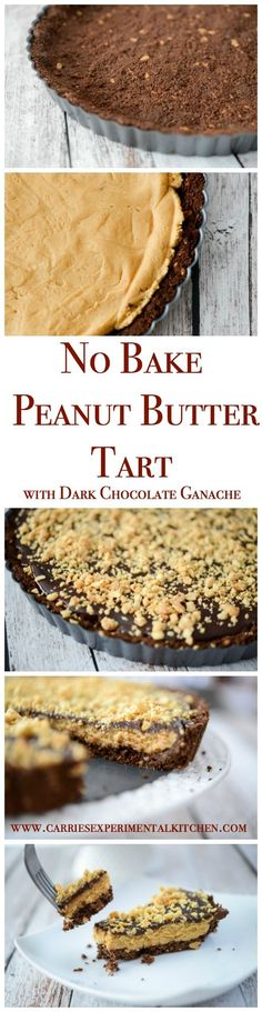 This No Bake Peanut Butter Tart with Dark Chocolate Ganache is so rich and decadent it's perfect for holidays or special occasions. | http://CarriesExperimentalKitchen.com