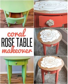 DIY FURNITURE MAKEOVER | This little accent table was made over with coral chalk paint and a rose design and personalization on the tabletop!
