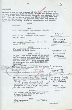 """That's the handwriting of a carpenter"": Harrison Ford's original script notes from Raiders of the Lost Ark"