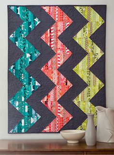 Chevrons quilt pattern is drama free! Quilt patterns using fat quarters - this is what we're talking about! String piecing adds dimension and interesting shading to this easy-to-stitch quilt. Simple, yet sophisticated.