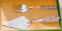 vintage cake serving set, silver plated serving set, server and fork set, in its original box by MICETTESVINTAGE on Etsy