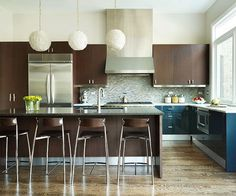 Give a kitchen contemporary style with sleek and simple cabinets. Get more kitchen inspiraton: http://www.bhg.com/kitchen/?socsrc=bhgpin081312brownandbluekitchen