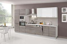 Cucina lineare bicolore - Cucine bicolore dal design sobrio.